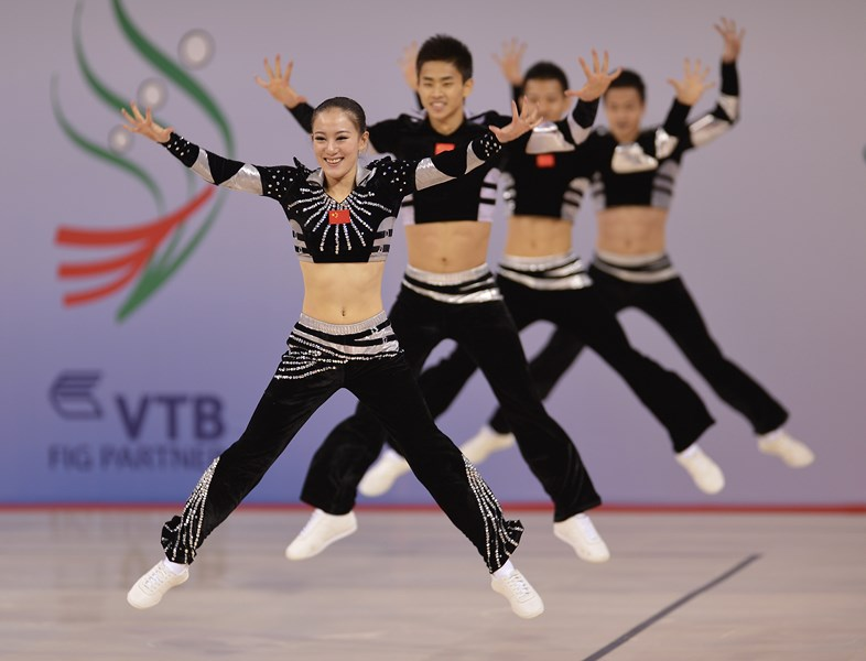 The Chinese group performs at the 2012 World Championships in Sofia (BUL).