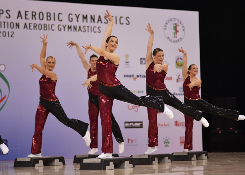 The German Aerobic Step team at the 2012 World Championships in Sofia (BUL).