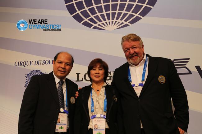 Luo Chaoyi (CHN), Nellie Kim (BLR) and Vasily Titov (RUS)