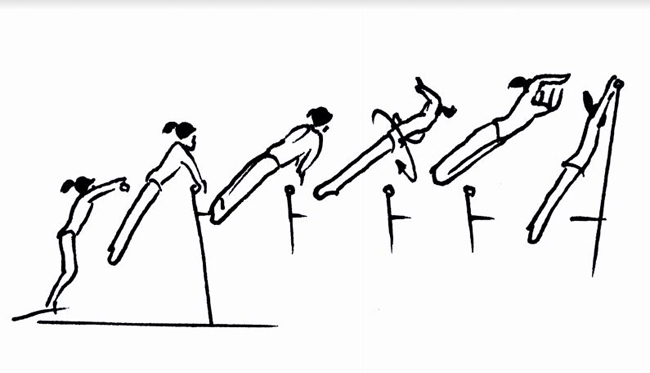 The Gebeshian on Uneven Bars. Drawing courtesy of Koichi Endo.