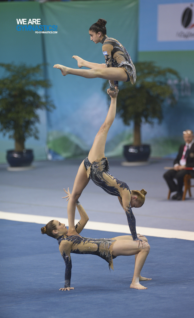 May Miller (base) in action at the 2016 Acrobatic Gymnastics World Championships in Putian (CHN).