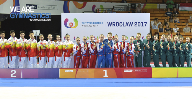 The Aerobic Step podium: China, Russia and Hungary