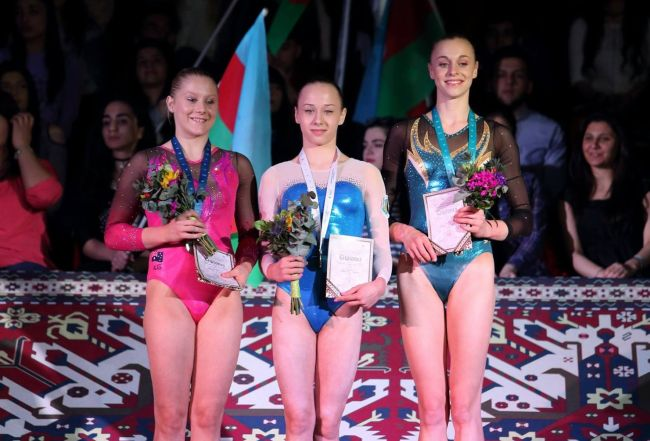 Ukraine's Diana Varinska won Uneven Bars at the AGF Trophy, her first World Cup gold.