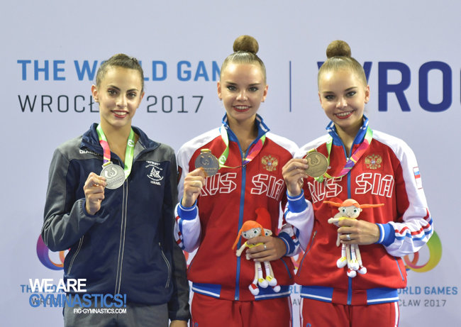 The Clubs podium: Linoy Ashram (ISR), Dina Averina (RUS) and Arina Averina (RUS)