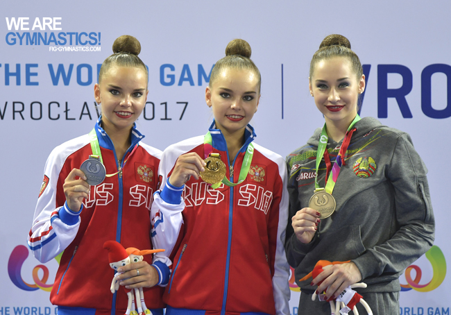 The Ribbon podium: Dina Averina (RUS), Arina Averina (RUS) and Katsiaryna Halkina (BLR)