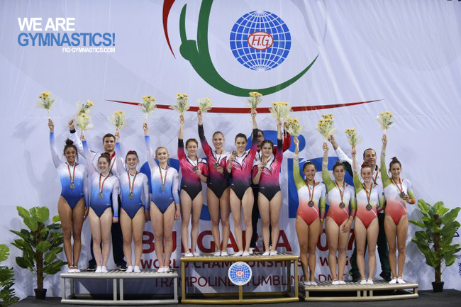 Women's Double Mini-trampoline Team podium