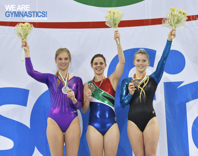 Women's Double Mini-trampoline podium