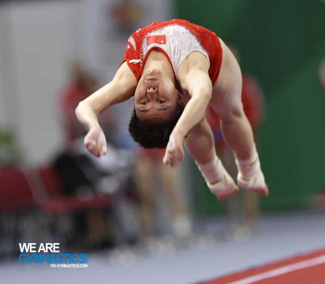 Jia Fangfang (CHN) is the top qualifier in women's Tumbling at the 2017 World Championships in Sofia (BUL).