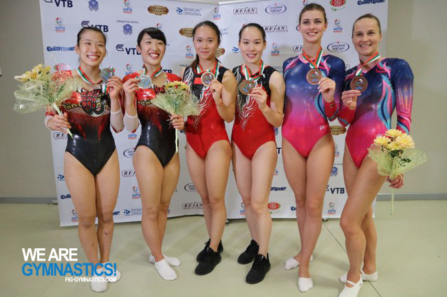 Women's Synchronised Trampoline podium