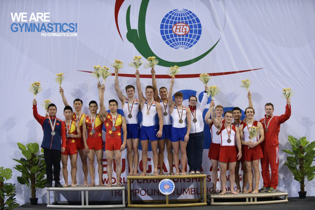 Men's Tumbling Team podium