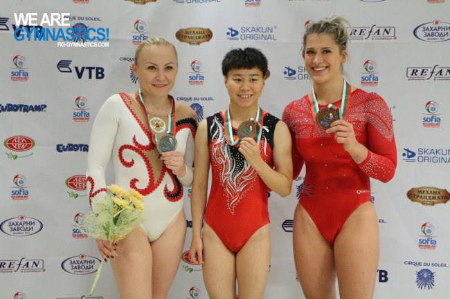 Women's Tumbling podium
