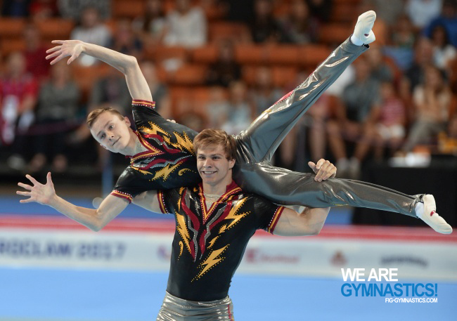 Robin Casse and Kilian Goffaux (BEL) performing at The World Games 2017 in Wroclaw (POL).