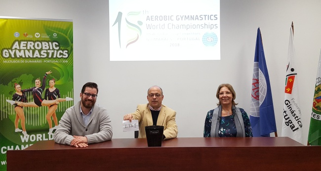 The draw was held in the presence of LOC Executive Director Alvaro Sousa, FIG Aerobic Gymnastics Technical Committee member Maria Fumea and FIG Sports Manager Alexandre Cola.
